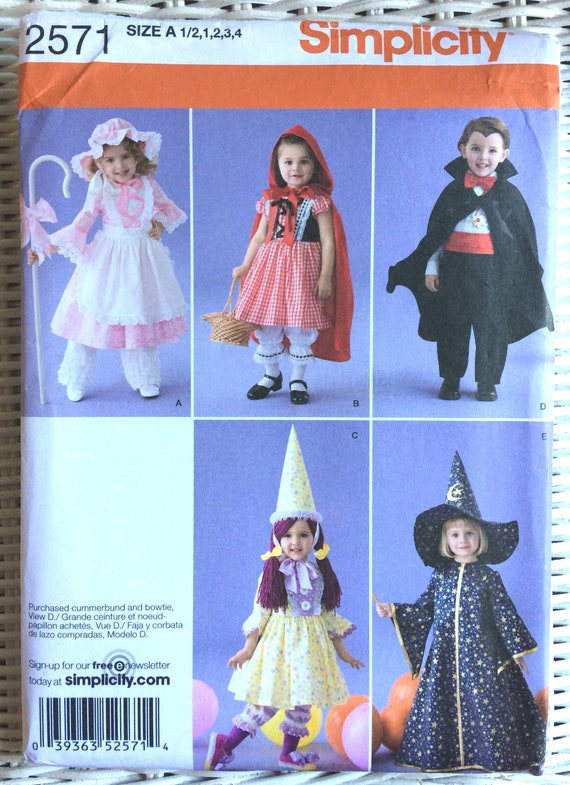 Simplicity 2571 Halloween Costume Sewing Pattern Dress Little Etsy