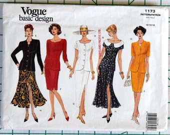Vogue 1173 Sewing Pattern Top Jacket Pencil Tapered Flared Slit Skirt Princess Seams Business Work Suit Size 12 14 16 Bust 34 36 38 UNCUT