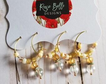 Gold Christmas/Holiday Wine Charm Set