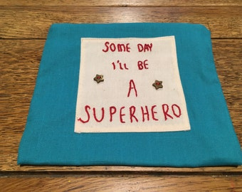 Hand embroidered one off superhero bag