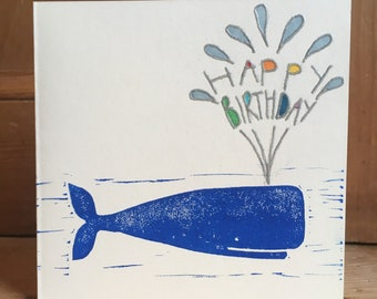 Whale Happy Birthday Handprinted cards