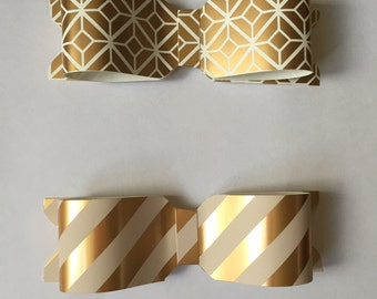 Pink, White and Gold Paper Bows / Set of 5