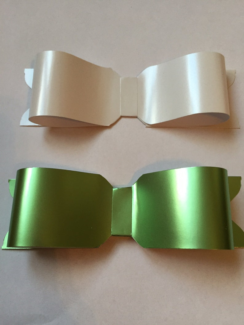 Clearance Sale  Paper Bows  Shiny Green and White  Set of 8