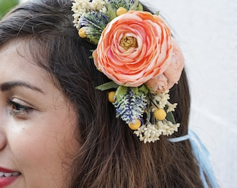 Pink, Blue and Yellow Floral Headband