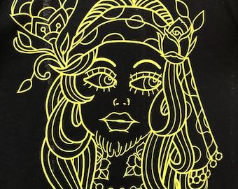 The Bearded Lady, Tattoo Art, Crew Neck Tee