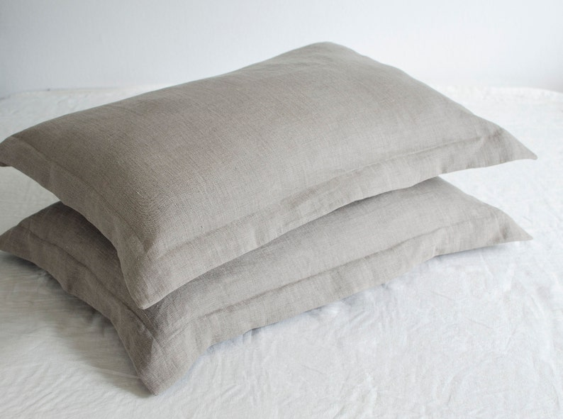 pillowcase with flanges Two gray oxford style PILLOWCASES of 100/% pure very SOFT linen in handmade
