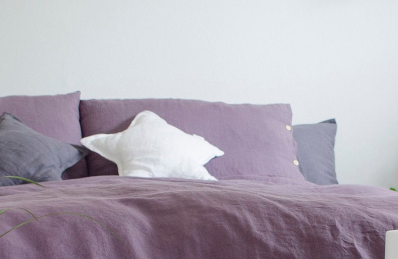 Two purple buttoned very soft LINEN PILLOWCASES in handmade and made to order