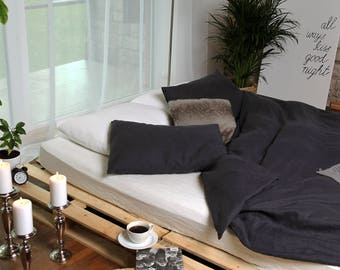 Natural softened linen DUVET COVER SET, linen duvet cover with 2 pillowcases, full size, queen size, king size