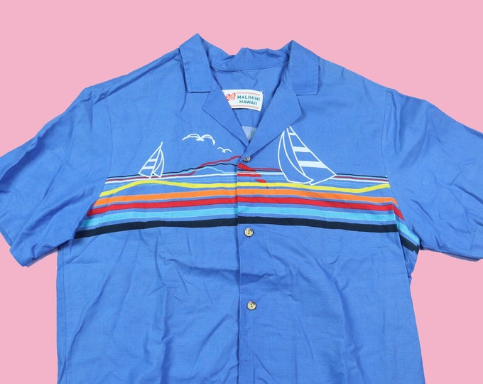 Malihini Blue Sailboat Hawaiian 1980's Vintage Button Up Shirt