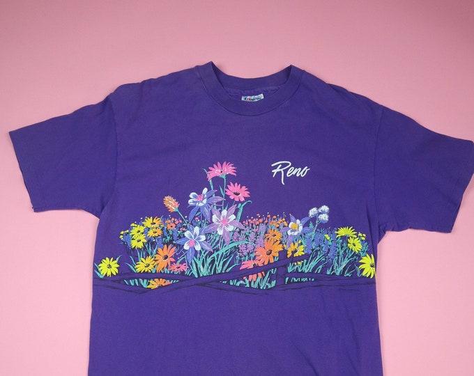 Reno Neon Puffy Floral print Vintage Tshirt