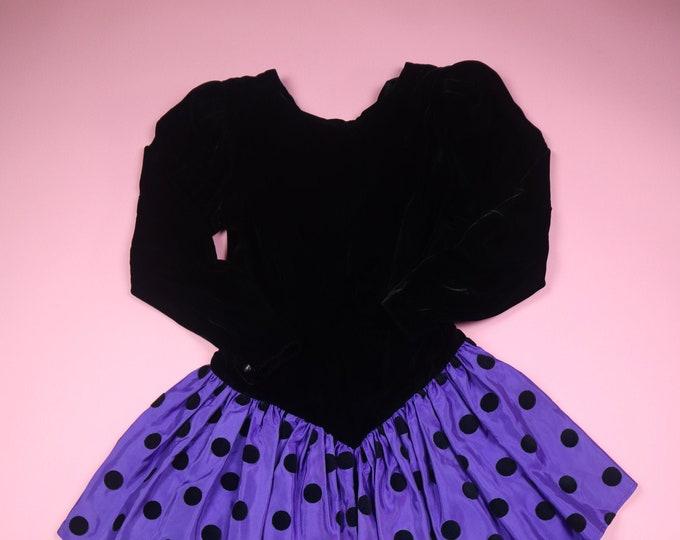 Donna Morgan for Non Stop Polka Dot 1980's Vintage Velvet Dress