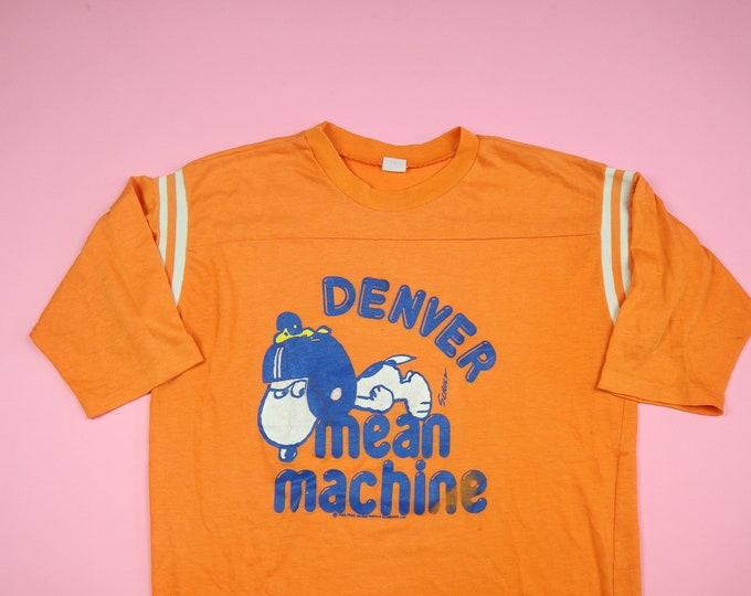 SNOOPY Denver Football NFL 1980s Vintage Shirt Mean Machine