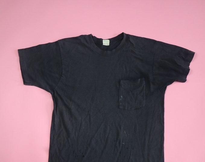 Blank Black 1990's Vintage Pocket Tshirt