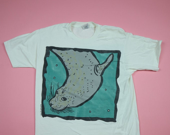 Seal Front and Back Print 1990's Vintage Tshirt