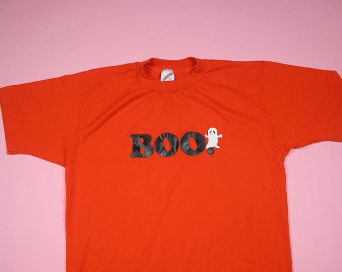 BOO Ghost Halloween Orange 1990s Vintage Tshirt