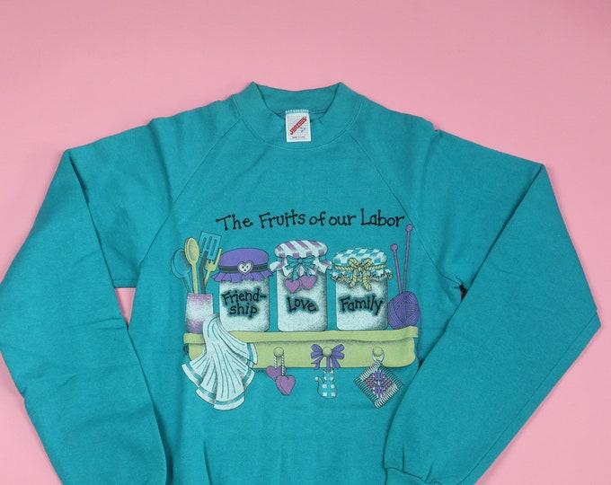 The Fruits of Our Labor jam jars 1980s vintage sweatshirt