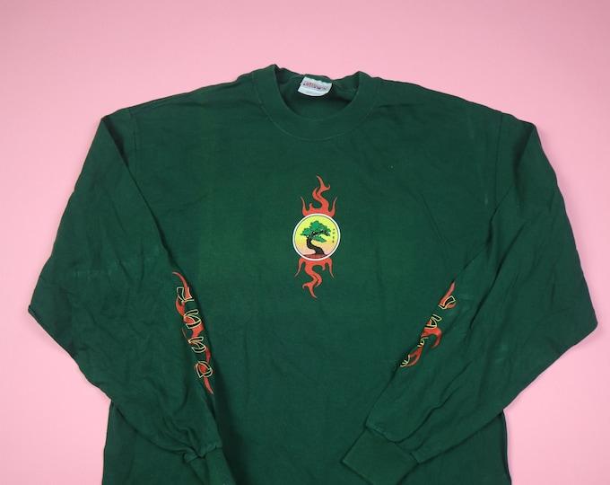 Karate Self Defense Dojo Flames 1990's vintage Longsleeve Shirt