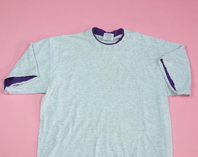 Blank Heather Grey & Purple Blank 1990's vintage Tshirt