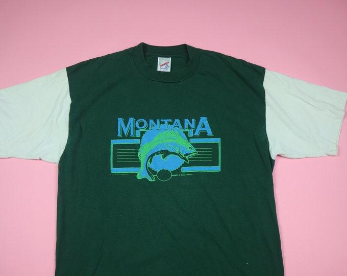 Montana Fishing Bass Animal 1990's Vintage Tshirt