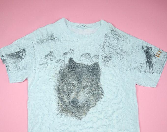 Reno Wolf Cute Animal All Over Print 1990's Vintage Tshirt