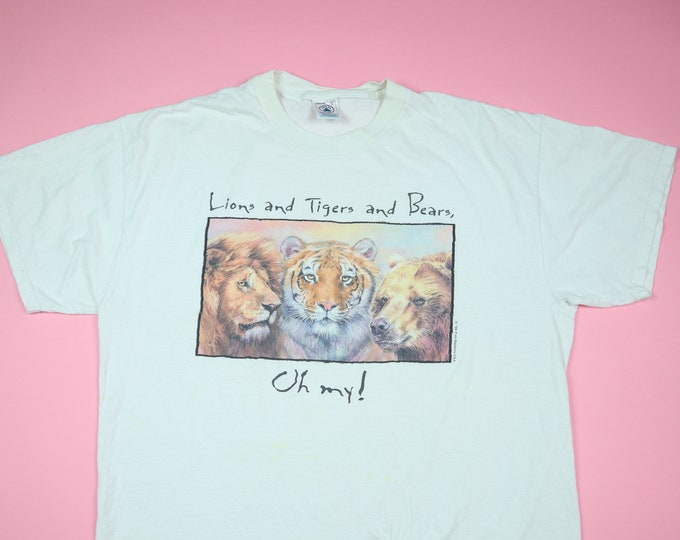 Lions and Tigers and Bears Oh My! animal 1990's Vintage Tshirt