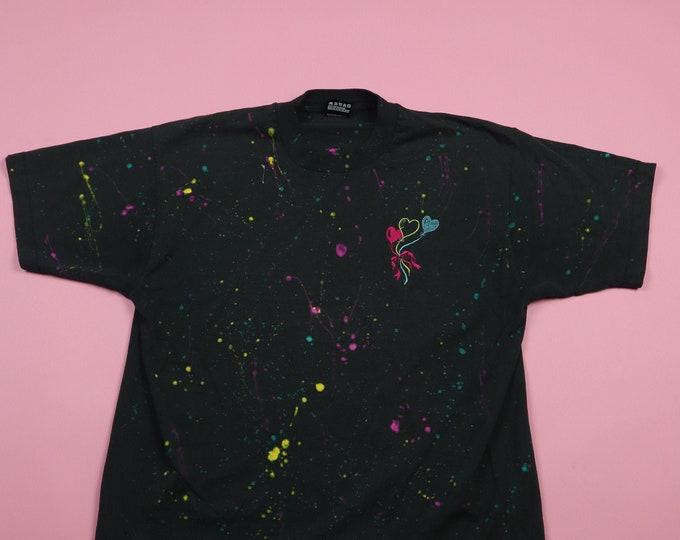 Heart Balloon and Splatter print Vintage 1990's Tshirt