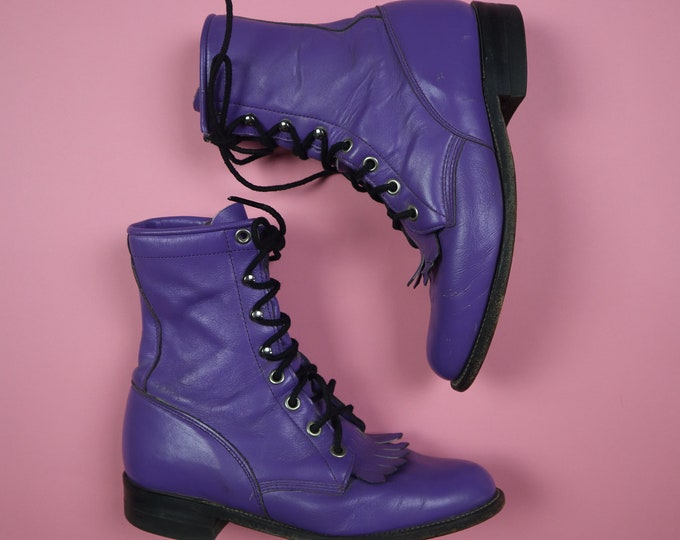 Purple Justin Roper Made in USA Vintage Boots