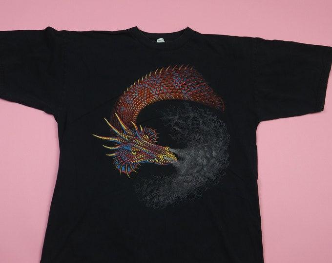 Dragon and smoke 1990s Vintage Tshirt
