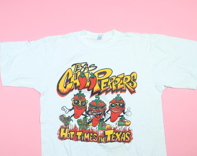 Hot Times in Texas Chili Peppers 1990's Vintage Tshirt