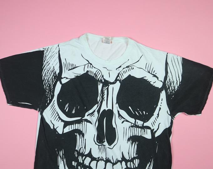Halloween Skull All Over Print 1990s vintage Tshirt