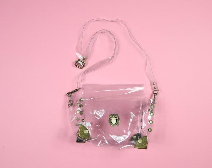 Clear with brass metal detail Vintage Handbag Purse
