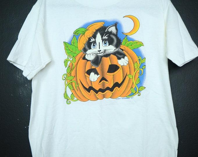 Jack-O-Lantern Halloween Cat Pumpkin 1997 vintage Tshirt