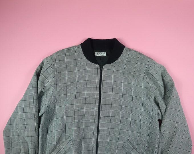 D'allaird's Grey Plaid Bomber Zip Up 1990's Vintage Jacket