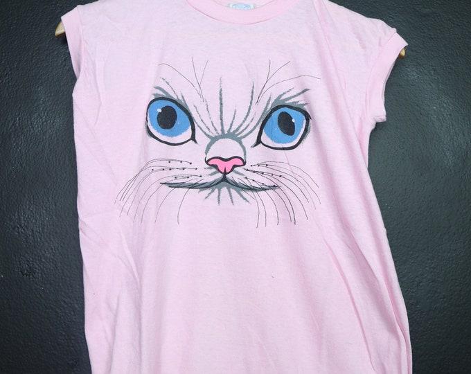 Pink Cat 1990s vintage Tshirt