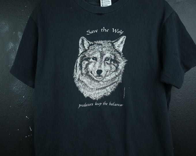 Save the Wolf 1990's Vintage Tshirt