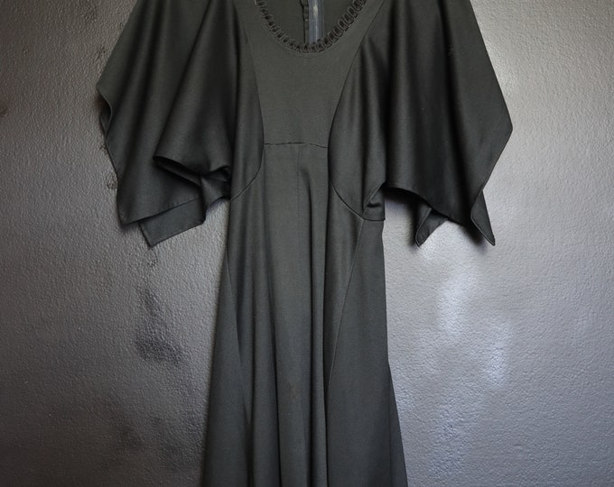 Black batwing vintage dress with scallop neck detail