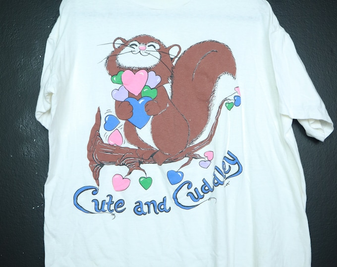 Cute and Cuddley Squirrel and Hearts vintage Tshirt
