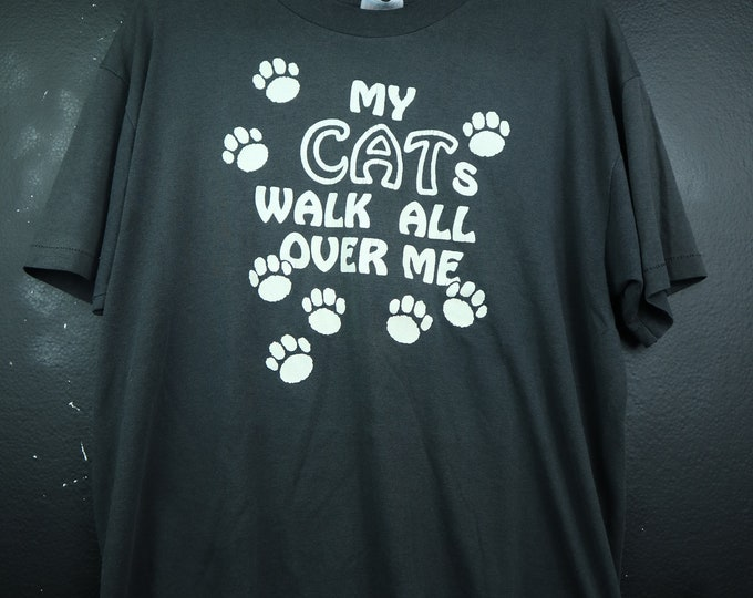 Cat Lazy My Cat Walk All Over Me 1990's vintage Tshirt