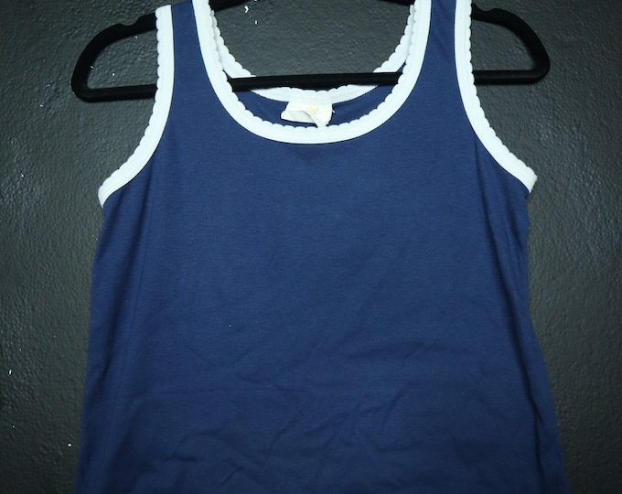 Navy White 1980's vintage Tank Top
