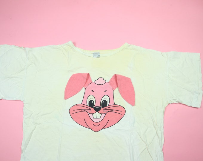 Cute Pink Bunny Floppy Ears & Tail Vintage Tshirt