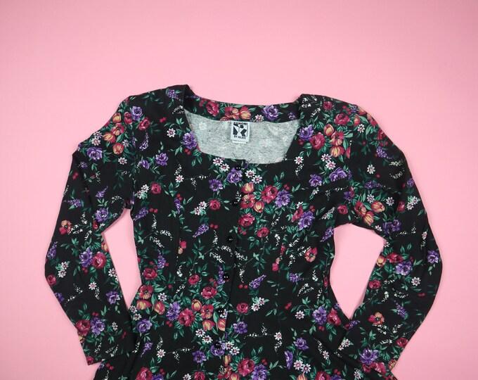 Floral Flowers Zanoni 1990's Vintage Dress