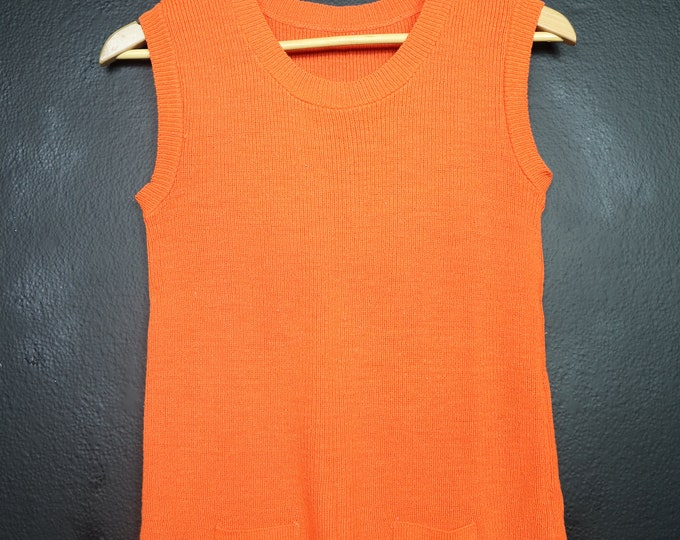 Orange Knit Vintage Sleeveless Top