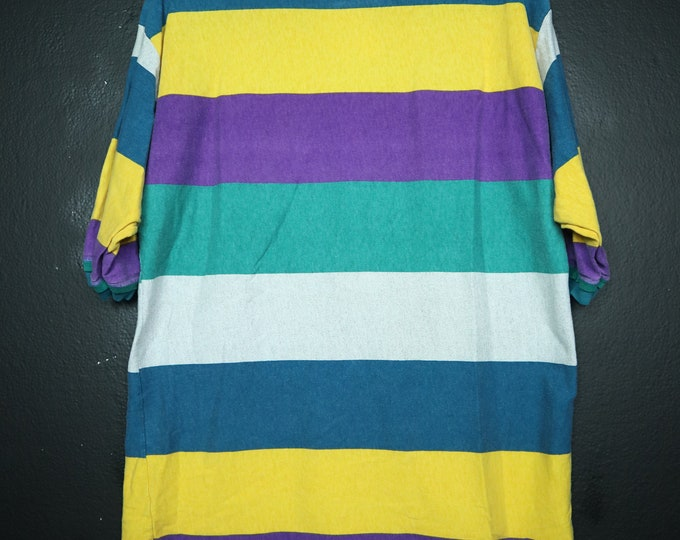 Striped Yellow Purple White & Blue  1990's Vintage Shirt