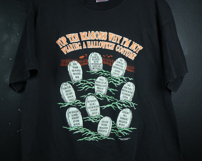 Halloween Reasons I'm Not Wearing A Costume graveyard 1990s vintage Tshirt