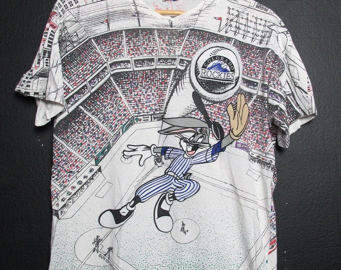MLB Colorado Rockies 1990s vintage Bug Bunny Tshirt