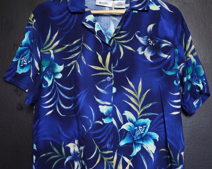 Blue Floral Hawaiian 1980's Vintage Shirt