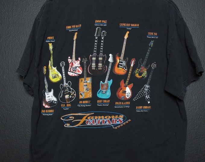 Famous Guitars vintage Tshirt Van Halen Led Zeppelin