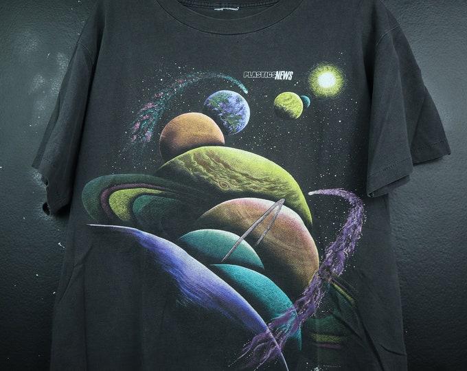 Planets Plastics News Space Constellations 1990s Vintage Tshirt