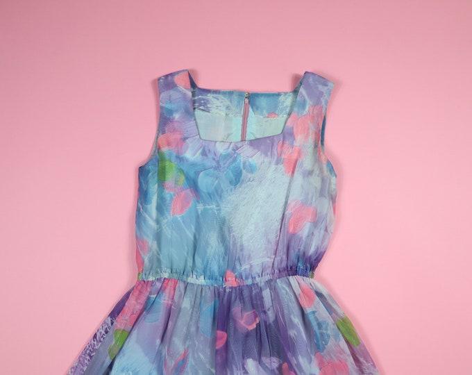 Colorful Flowers Vintage Dress