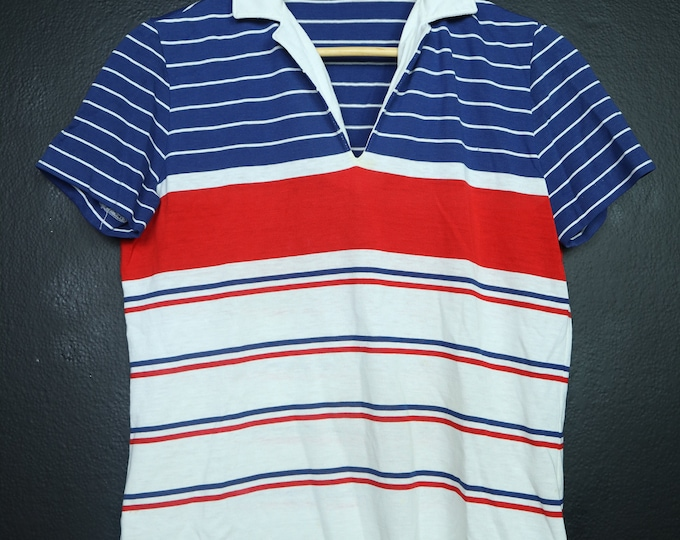 Striped Red White & Blue 1980's Vintage Shirt